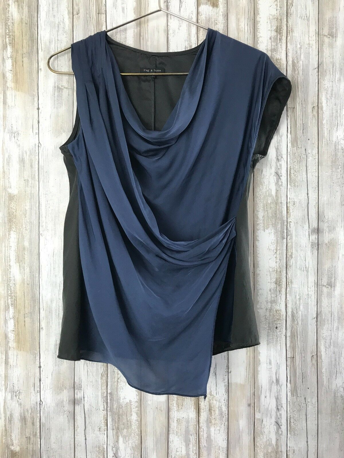 Rag & Bone Blau schwarz Drape Front Silk Blouse Tank Top Sleeveless S Small