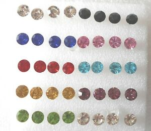 Sparkly Crystal Plastic Stud Earrings Allergy Free - 9 Colours - 4-5mm