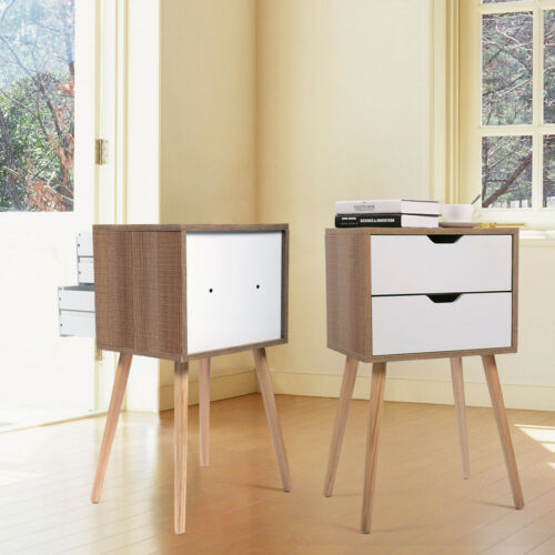 Wood Bedroom Bedside Furniture Nightstand Set of 2 End//Side Table with 2 Drawer
