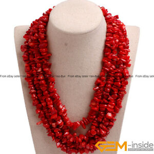 Handmade-Multi-Strands-Chips-Cluster-Statement-Beaded-Long-Necklace-17-20-Inches