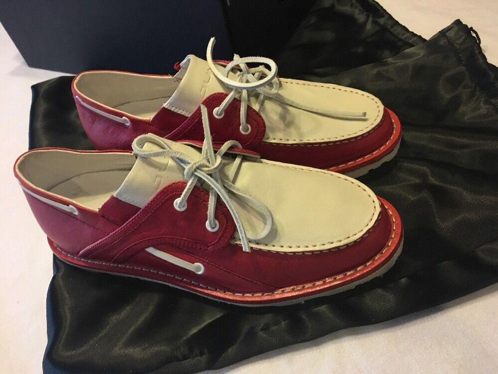 Jump Delux Red White Loafers With Dust Bags Size 7.5.
