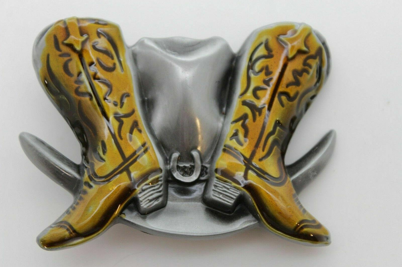 Herren Damen Gürtelschnalle Silber Metal Modische Western Braune Stiefel Hut