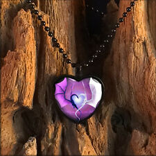 Purple Dragon Wing Heart Black Sci-fi Fantasy Glass Pendant Love Necklace