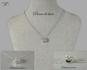 Turquoise et Pierre de Lune Ronde Cabochon 925 Pendentif En Argent Sterling