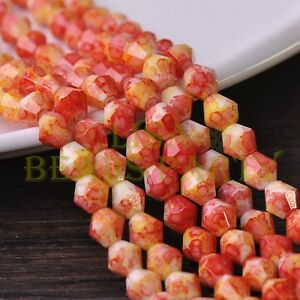 New-50pcs-6mm-Bicone-Faceted-Glass-Loose-Spacer-Colorized-Beads-Red-amp-Yellow