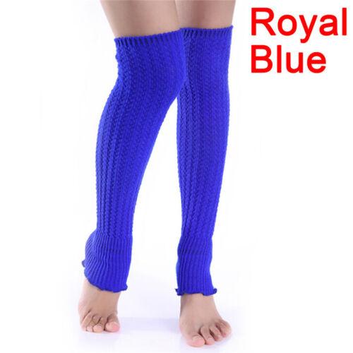 Women Winter Long Leg Warmers Knit Crochet Leggings Stockings Thigh High RDUK