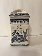 Antique Blue & White Bird Kitchen Tea Canister Ceramic Hand Painted In Portugal
