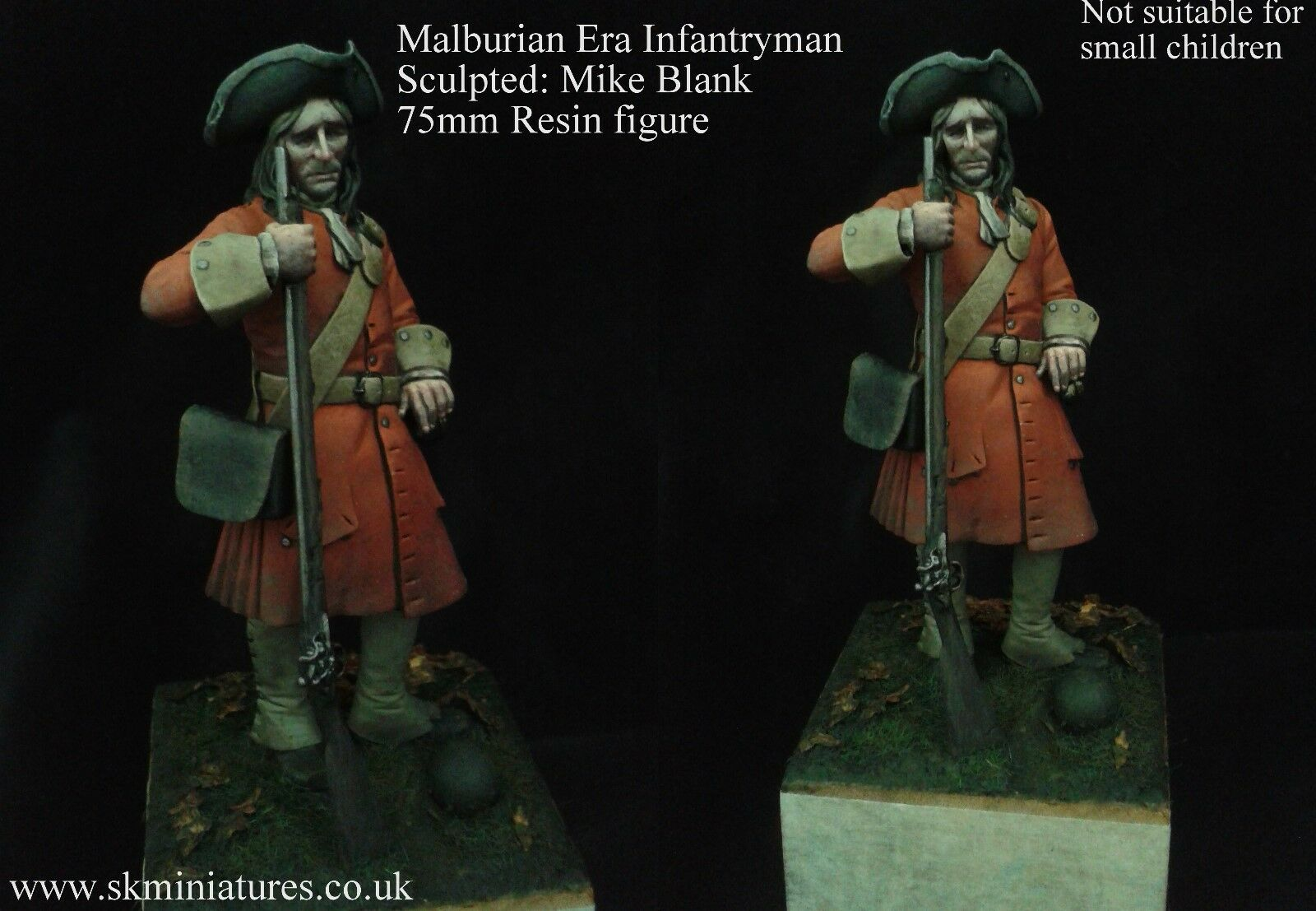 SK Miniatures British Malburian era Infantryman 75mm Unpainted Kit MIKE BLANK