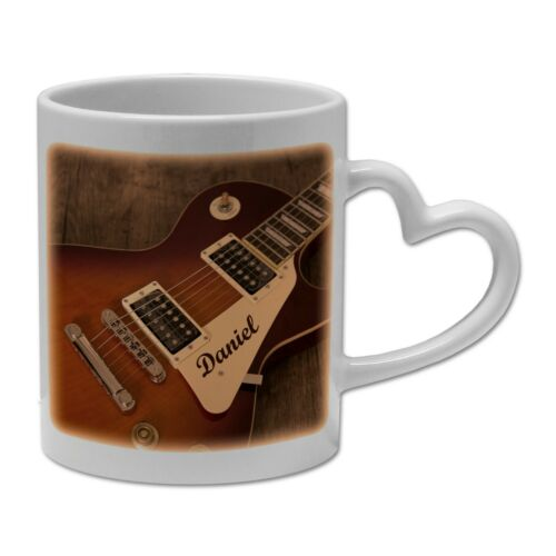 Personalised Guitar Music Rock Band Novelty Gift Mug Heart Handle