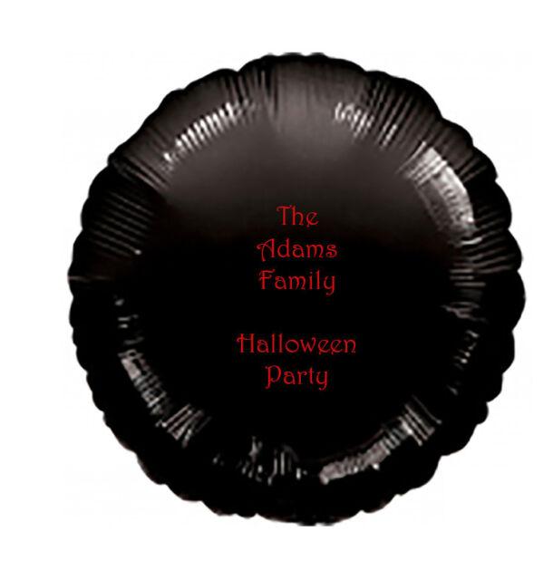 "Personalised Halloween Party 18"" Round Helium Balloon Black with Orange Writing"