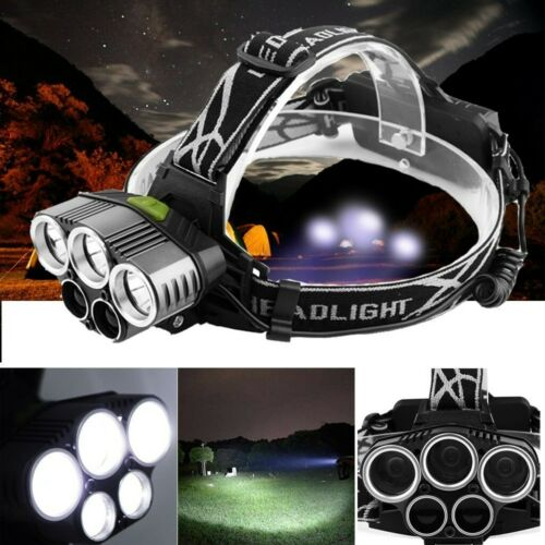 50000 Lumen Head Torch CREE XM-L T6 5LEDs Headlamp Headlight USB Rechargeable UK