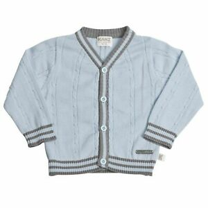 Baby-Boys-Cardigan-Sweater-Size-18-Months-Blue-Gray-Stripe-Long-Sleeve-Kanz-New