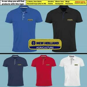 New-Holland-Polo-T-Shirt-brode-tracteur-Logo-Slim-Homme-Agriculture-Farming