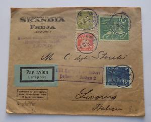8170-Per-Avion-Luftpost-Posta-Aerea-Raccomandata-Svezia-Livorno-1933