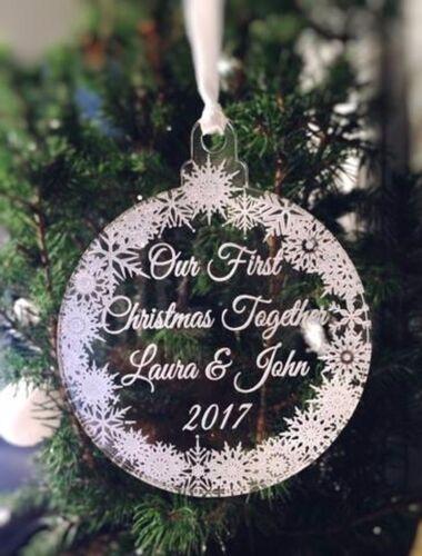 """Personnalisé gravé acrylique arbre décoration, notre premier noël /""""babiole 7cm"""