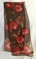 Elaine Gold For Collection Xiix 100% Silk Scarf Watercolor Red Flowers On Brown