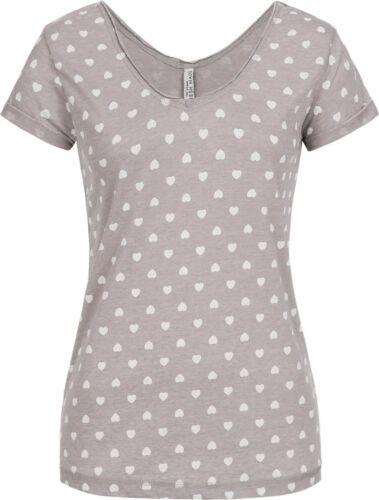 Damen T-Shirt kurzarm Shirt Kurzarmshirt V-Ausschnitt Hearts Fresh Made LFM-142