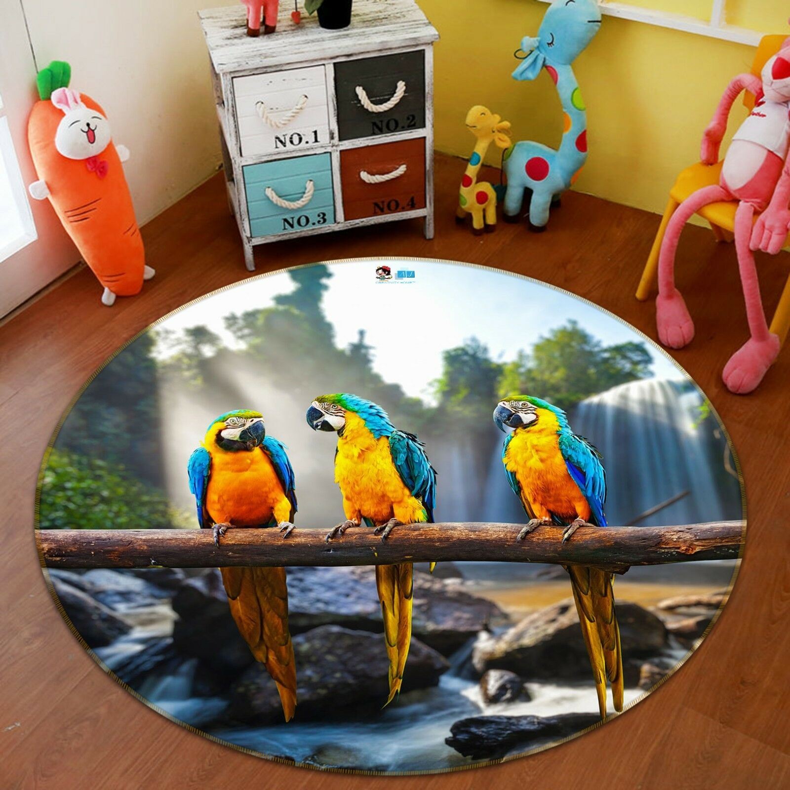 3D Coloree Parrosso 4 Non Slip Rug Mat Room Mat Round Elegant Photo Carpet US Summer