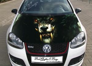 Details about Angry Wolf Hood Full Color Graphics Wrap Decal Vinyl Sticker  Fit any Car #211