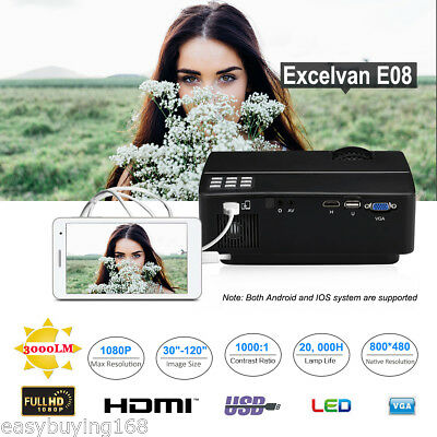 1080P HD E08 LCD+LED 3000LM PROYECTOR HDMI SD USB VGA TEATRO P iOS/ANDROID MÓVIL