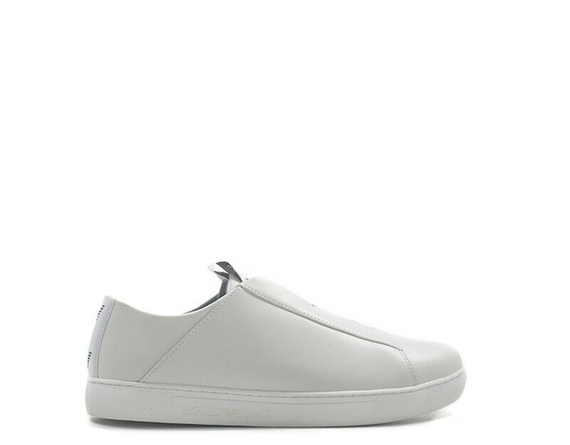 chaussures EMPORIO ARMANI hommes Slip On  BIANCO Pelle naturale,PU X4X239-XL477-A222