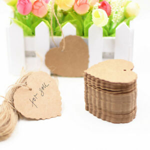 100X-Decor-Label-Kraft-Paper-Luggage-Blank-Strings-Tags-Scallop-8C