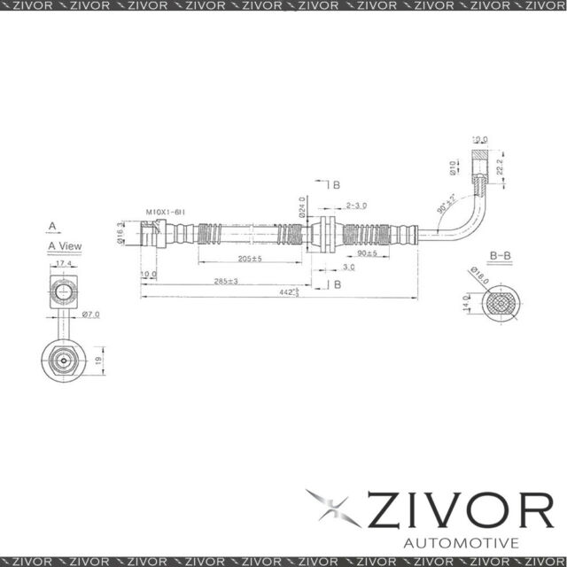 PROTEX Hydraulic Hose-Front For FORD FAIRMONT BF 4D Sdn RWD 2005-2008 By ZIVOR