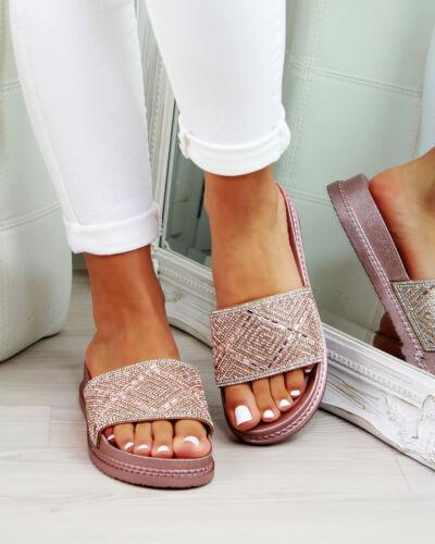 New Womans Embelli curseurs Sandale Mule à Enfiler Sandales Été Chaussures Tailles