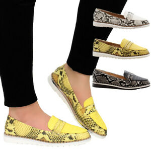 Ladies-Women-Flat-Casual-Studs-Snake-Loafers-Work-Office-Pumps-School-Shoes-Size