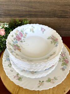 15 PC Set ARCOPAL France ROSALIE SALAD PLATE BOWL Dinner Plate Blue Pink Floral