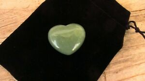 Aventurine-Healing-Crystal-Puff-Heart-30mm-Black-Velour-Drawstring-Pouch