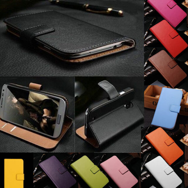 Genuine Real Leather Flip Case Cover Wallet Card Holder For HTC ONE series phone