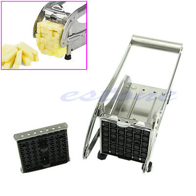 Stainless Steel French Fry Cutter Potato Maker Slicer Chopper Dicer 2 Blades New