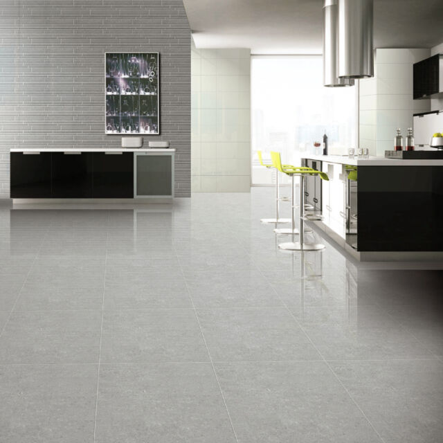 60x60cm Super Polished Light Grey Porcelain Floor Tiles