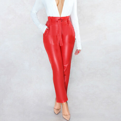 con vita vita in alta alta casual Pantaloni casual verniciata Pantaloni pelle a a cintura wZvCRgWq