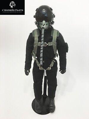 """Noir 1//6 ~ échelle 1//5 12/"""" Tall moderne Jet Fighter Pilot Figure"""