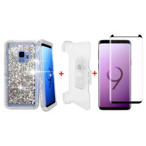 For-Samsung-Galaxy-S9-Plus-Glitter-Defender-Case-w-Clip-fits-Otterbox-White