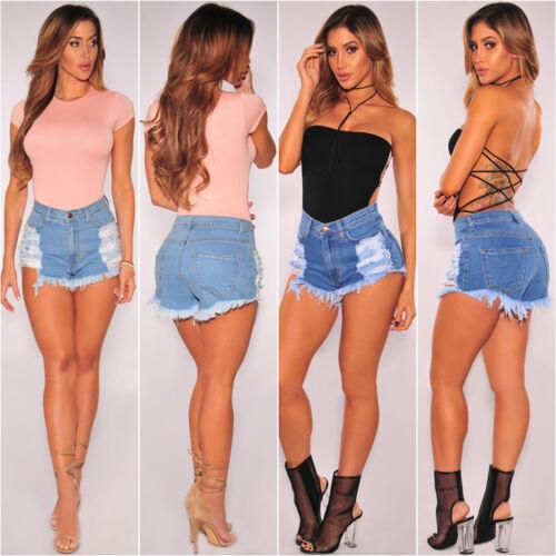 Damen Destroyed Zerrissen Shorts Denim Jeans Hotpants Kurze Hose Sommer Freizeit