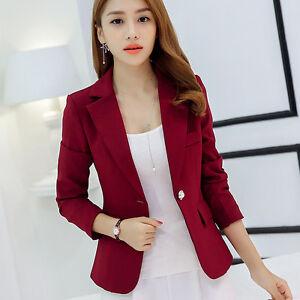 Women s Fashion Blazer Suit Coat Slim Fit Classic One Button Thin ... 47e30c36a0