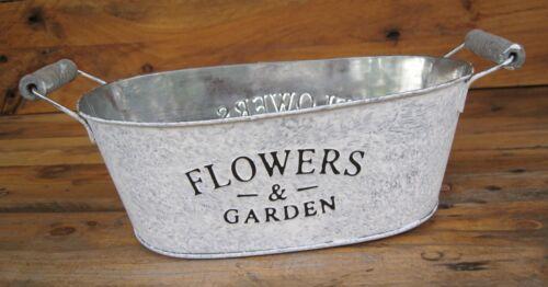 """Shabby Jardiniere /""""FLOWERS /& GARDEN/"""" Plfanzschale Pflanztopf Landhaus Frühling"""