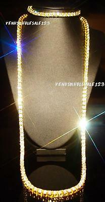 18k Yellow Gold Filled 1 row Clear CZ IcedOut Tennis Chain Necklace+Bracelet Set