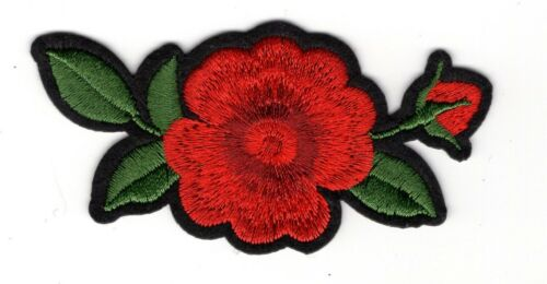 Lot of 2 Red Rose embroidery patch