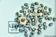 Black Beads Rosary Catholic Hematite Crucifix Necklace 14 Vintage Pendant Israel