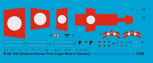 Peddinghaus 1//350 ep 1952 Schwerer Kreuzer Prinz Eugen