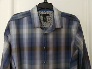 New-Mens-INC-International-Concepts-Long-Sleeve-Shirt-Medium-Blue-Gray-Plaid