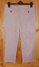 LOFT pink cream grey stripe stretch cotton capri cropped trousers ANN TAYLOR 12