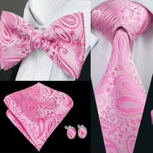 USA-Pink-Paisley-Tie-Bowtie-Set-Silk-Mens-Adjustable-Tuxedo-Pretied-Wedding