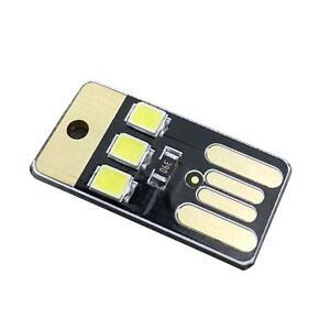 Mini-USB-Power-3-LED-Portable-Night-Lamp-Pocket-Card-Light-w-Keyring-Blanc-BH