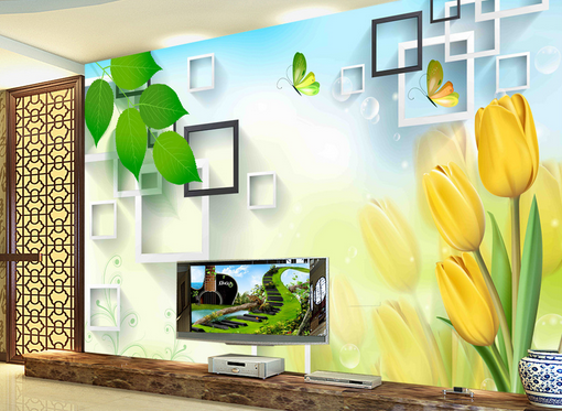 3D Grün Leaf Tulips 8 Wall Paper Murals Wall Print Wall Wallpaper Mural AU Kyra