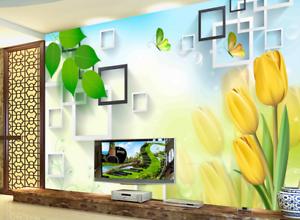 3D Green Leaf Tulips 8 Wall Paper Murals Wall Print Wall Wallpaper Mural AU Kyra